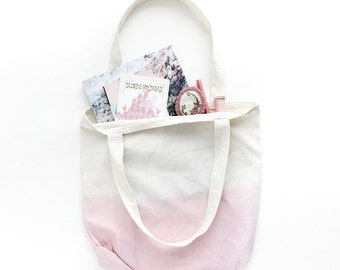 Light pink dip dye cotton tote