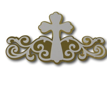 Religious Scrapbook Die Cut Embellishment - First Communion Diecut Shape - Premade Baptism Layout - Religious Die Cut - Scrapbook Die Cut