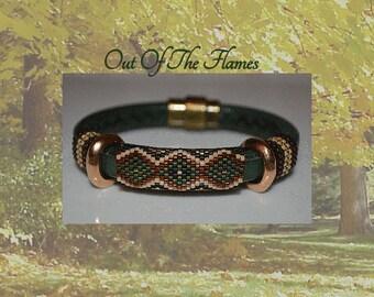 Bead PATTERN Green Trails Licorice Leather Peyote Or Brick stitch