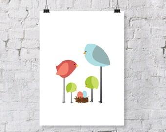 birdie parents & toddlers  - nursery art print