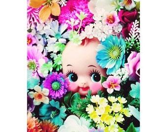 kewpie doll flowers print 5 x 7 PEEKABLOOM