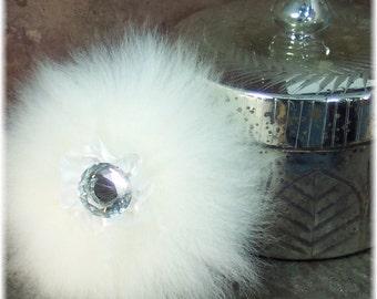 Silver Mercury Glass Vanity Jar, Handmade Powder Puff,  Handmade Natural Body Powder, Assorted Puff Styles