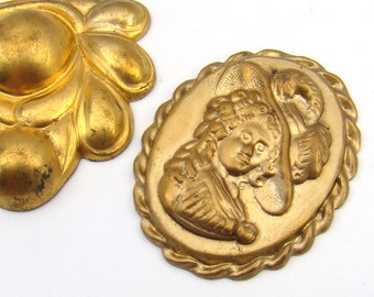 2 pcs vintage brass stampings, large cameo and Nouveau style shapes