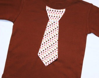 Boys Orange and Brown Polkadot Thanksgiving Day Appliqued Tie Shirt - sizes 0-3 months to size 6 - long or short sleeve