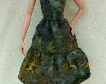 "11.5"" Fashion doll Handmade dress - Green Batik"