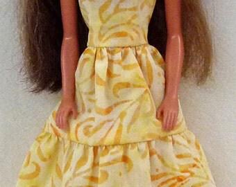 1/6 scale fashion doll dress handmade - yellow