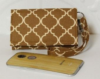 Smartphone Wallet Wristlet Cell Phone Wristlet Card Wallet / iPhone 5/6/6 plus / Galaxy / Moto X / NEW STYLE TECH / Brown Sugar Lattice