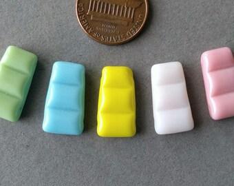 5 Double Drilled Multicolor Pastel Colors German Vintage Beads Set 1