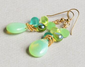 Sea Dreams Earrings - Green and Gold Earrings - Green and Aqua Earrings - 14K Gold-Filled