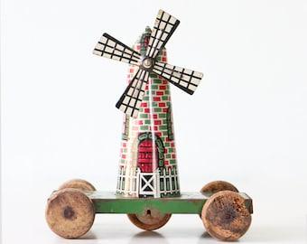 Vintage Toy Windmill, Tin Litho Toy on Wheels