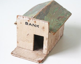 Vintage Bank Building, Wooden Bank