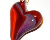 Lampwork Boro Glass Pendant - Focal Bead - HEART red purple