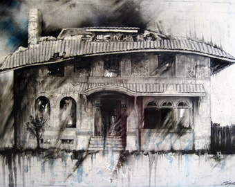 "Charcoal Drawing, Detroit - Fine Art Print - ""7722 LaSalle Gardens"" - Abandonings, Detroit, Charcoal, Mixed Media"