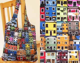 Tote bag with colourful houses - heavy cotton, lined, ready to ship