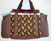 Deluxe Knitting/Crochet Tote Bag/Project Bag/Two Pocket Yarn Organizer/Handmade Knitting Bag-SWEET GEORGIA BROWN
