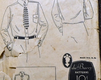 ON SALE Vintage Sewing Pattern DuBarry 898B Boy's Button Up Shirts Size 8 Complete Unprinted Pattern