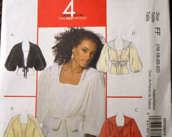 Sewing Pattern McCall's 8428 Misses' Shrugs and Tops Bust 38-44 inches Complete Uncut