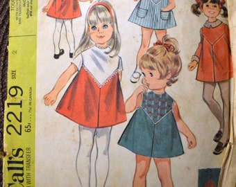 Vintage 70's Sewing Pattern McCall's 2219 Girls' Dress Size 2