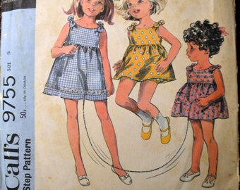 Vintage 70's Sewing Pattern McCall's 9755 Girls' Dress and Bloomers Size 5 Complete
