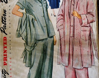 Vintage 1949 Sewing Pattern Simplicity 2999 Misses' Robe and Pajamas Bust 32 Inches Complete