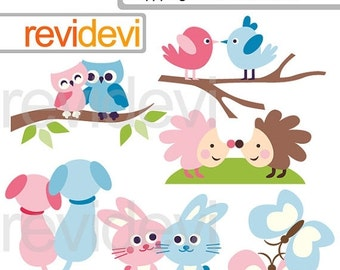 30% OFF SALE Animals in pairs clipart - pink blue - Happy together animals clip art - digital images - commercial use