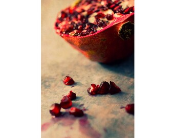 Kitchen Wall Decor, Pomegranate Art, Still Life Photography, Food Print, Red Rustic Home Decor