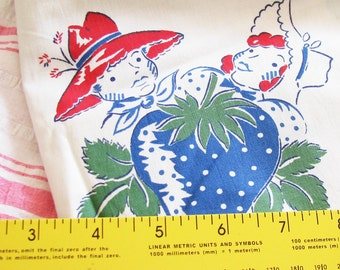 Farm Living Is the Life for Me...Cute Vintage 40s-50s Novelty Print Cotton Fabric