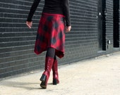 Women's Skirt, Plaid Wool, Midi Skirt, Knee Length, Asymmetrical, A-line Skirt, Red and Gray, Organic Bamboo, Travel Skirt, Winter Style, XS