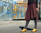 Womens Skirt in Eggplant Purple Wool - Organic Bamboo Waistband, Asymmetrical Hemline, Long Skirt, 2,4,6,8,10, Winter Fashion, Ready to Ship