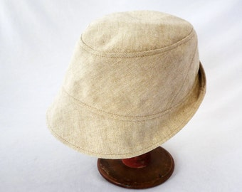 Fedora in Cream Linen - Mens Hats, Womens Hats, Summer Fashion Hat, Spring Style, Angles, Stingy Brim, Travel Hat, Summer Whites, Sharp Look