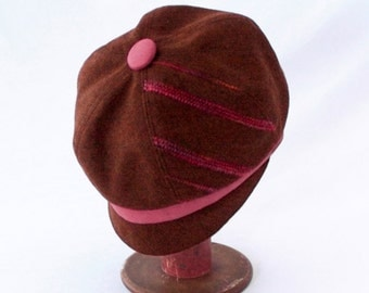 Women's Newsboy Hat in Cinnamon Brown Wool with Rose Pink Faux Suede Accents : Womens Hats, Girls Hats, Fall Fashion, Newsboy Cap, Elegant