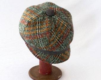 Newsboy Hat Womens - Slate Blue, Olive Green, Goldenrod, Rusty Orange, Crimson, Red, and Cream Plaid Bouclé Wool - Womens, Girls Hat, Autumn