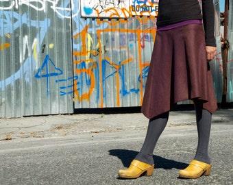 Long Skirt, Eggplant, Womens Wool Skirt, Asymmetrical, Organic Bamboo, Versatile Skirt, Travel Skirt, Comfortable Skirt, Ready to Ship, Jupe