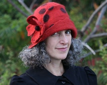 Red Hand Felted Cloche with Polka Dots - Flapper Style - Art Hat- Size Medium