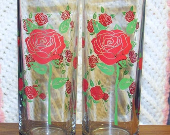 2 Tall Rose Drinking Glasses