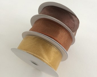 Brown 3 Spools Nylon Wired Ribbon 1 1/2 inches wide