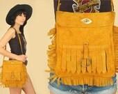 Suede FRINGE Bag ViNtAgE 60's 70's // Woodstock Era // Handbag 70's Leather Satchel Purse // Hippie BoHo Summer Festival