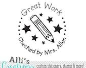 Custom Teacher Stamp - Self Inking Stamper - Great Work - Perfect Teachers Gift