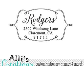 Dainty Border Return Address Stamp Family Name Stamp Self Inking
