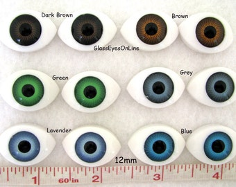 6 PAIR Plastic Doll Eyes Oval 12mm Iris With 16mm by 24mm Overall Size Choose Color for Dolls, Fairies, Mermaids, Fantasy Characters (A-1)