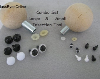 INSERTION TOOLS for Plastic Safety Eyes Combo Set of Small and Large Tool for inserting Washers into Eyes.  ( IT)