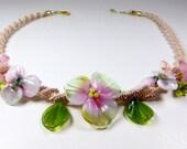 haku lei bib necklace lamp work flowers lamp work jewelry macrame necklace macrame jewelry lamp work flower necklace flower choker necklace