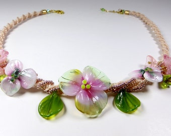 haku lei bib necklace lamp work flowers lamp work jewelry macrame jewelry lamp work flower necklace flower choker necklace MOTHERS DAY