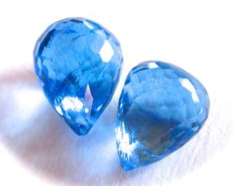 AAA Swiss Blue Topaz matching earring semiprecious stone bead pair - 12mm X 10mm - faceted teardrop