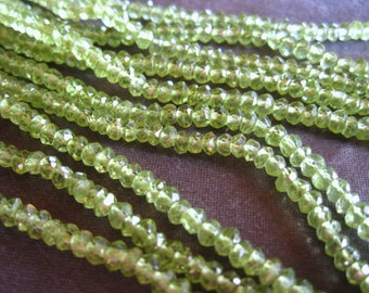 Peridot semiprecious faceted stone beads - Crystal Clear quality - Laser cut faceted rondelles - 3mm X 2mm
