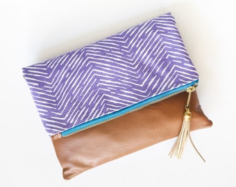 Purple Herringbone and Tan Vegan Leather Foldover Tassel Clutch with Optional Crossbody Strap - Blue and Gold Accents