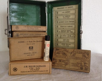 Vintage First Aid Kit,  Metal and Enamel Box, Field First Aid Kit, Bandages and ointments