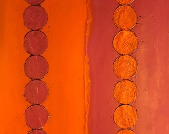 original encaustic painting-  hot pink and orange