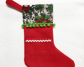 Red Stocking, Pocket Stocking, Pocket Peeper - Midnight Chimes, Red, Holly