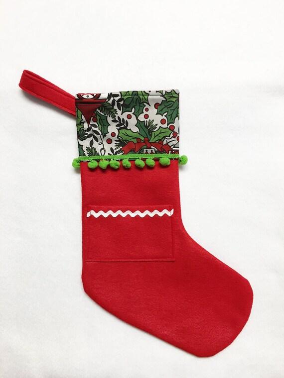 Felt Stocking, Pocket Stocking, Pocket Peeper - Midnight Chimes, Red, Holly